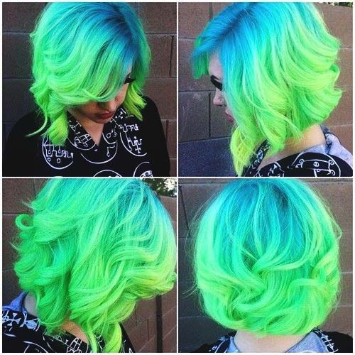 Blue And Green Short Ombre Hair