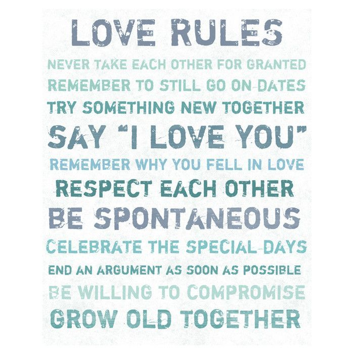 Love rules sign
