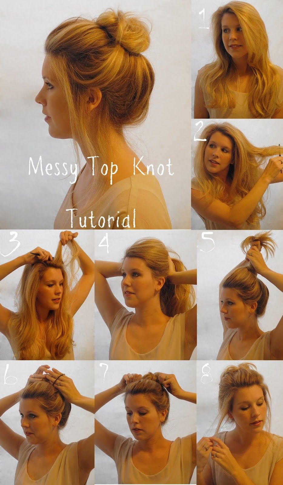 Messy Top Knot Hair Tutorial Pictures, Photos, And Images