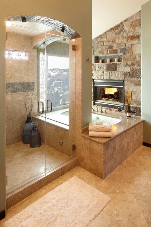 Fireplace Next To Jacuzzi Bath Tub With A Mountains View. Fireplace Next To Jacuzzi Bath Tub With A Mountains View Pictures