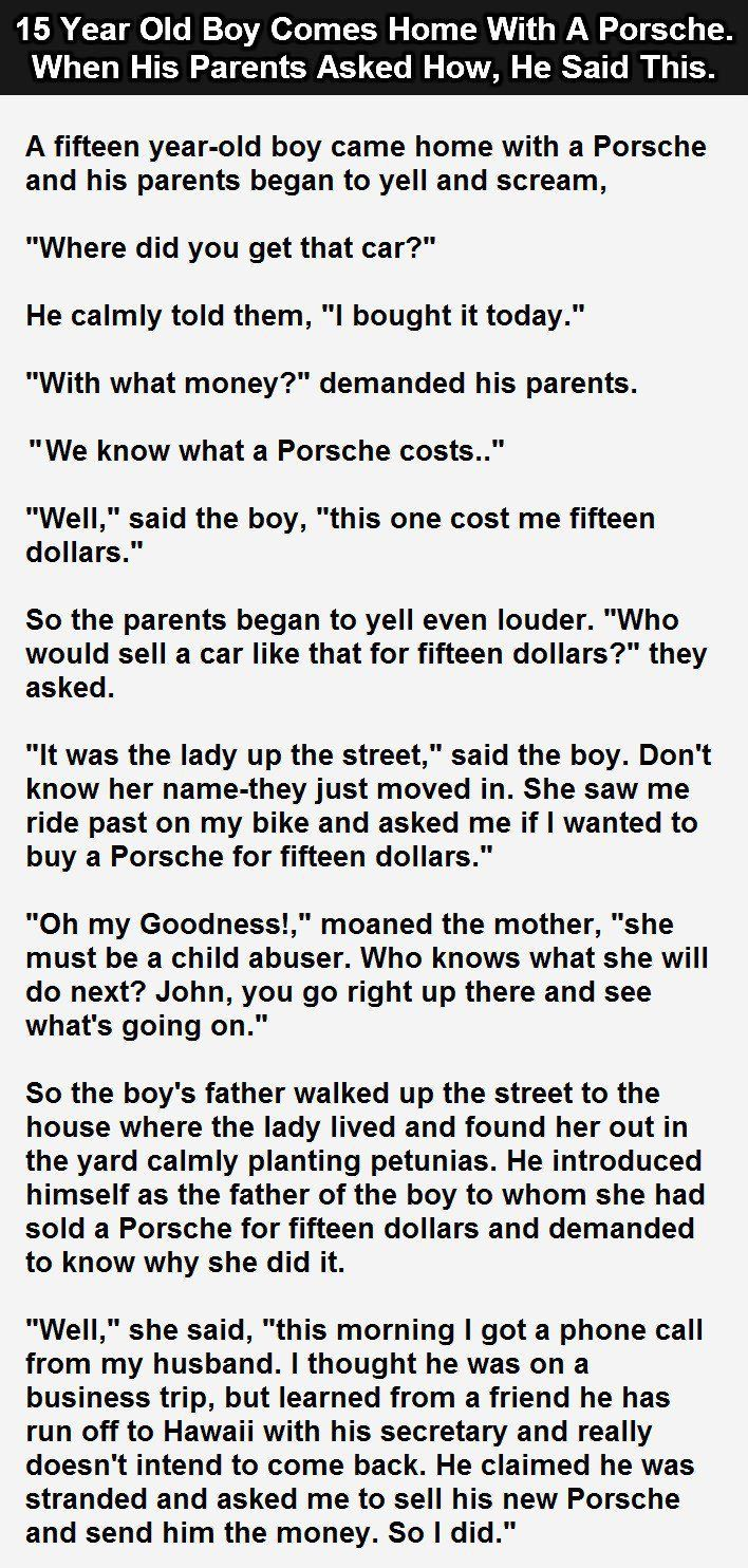15 year old boy comes home with a porsche when his parents for Great short vacation ideas