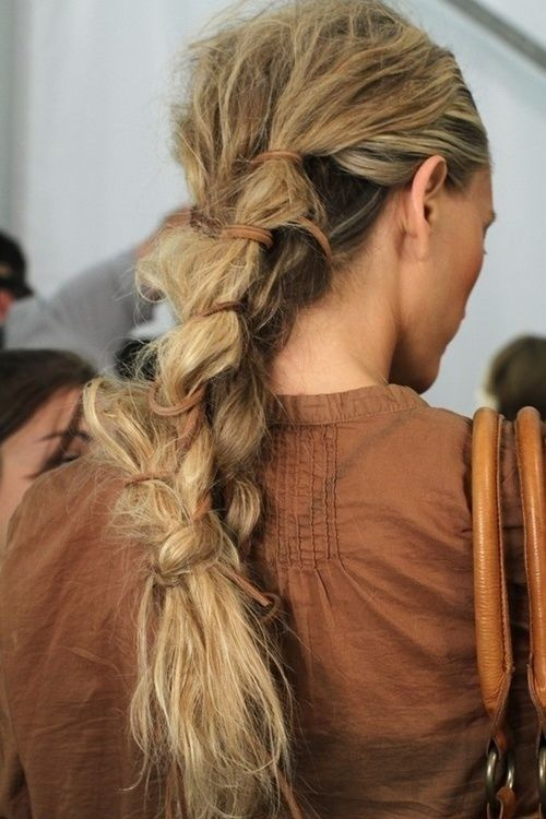 messy braid hairstyle for girls