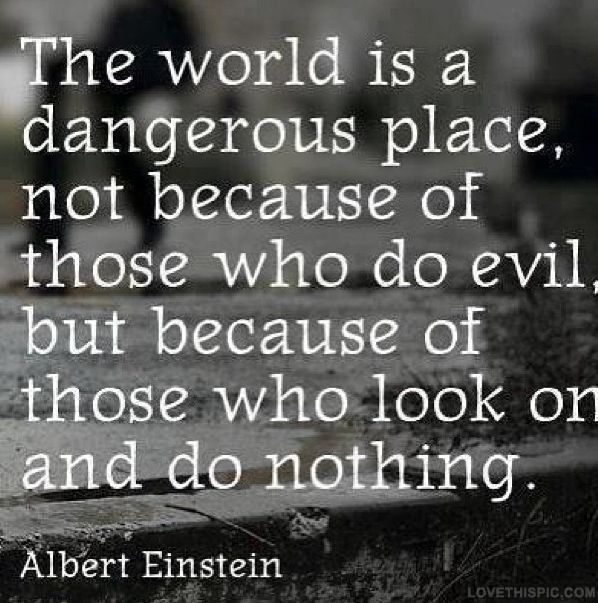 the world is a dangerous place not because of those who do