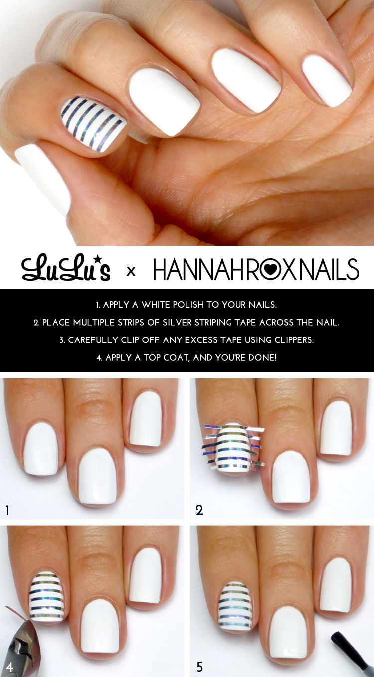 White and silver striped accent nail pictures photos and - Easy nail polish designs to do at home ...