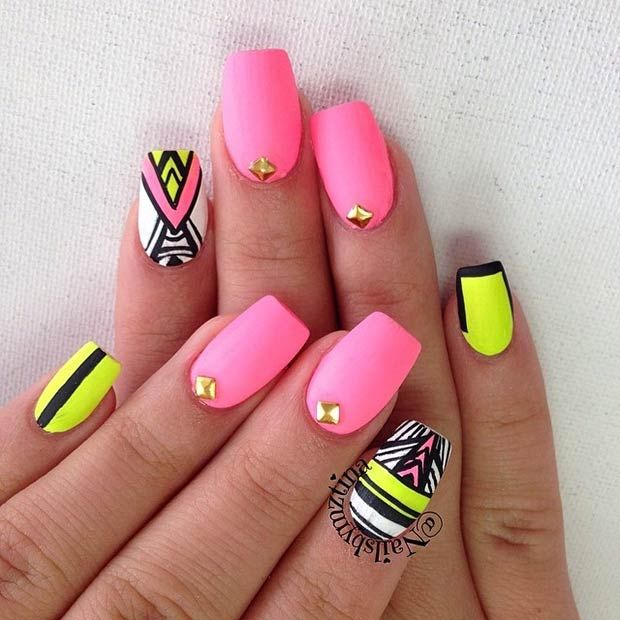 Neon, Matte Tribal Nails Pictures, Photos, and Images for Facebook ...