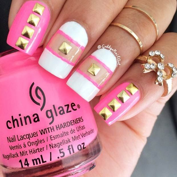 Pink & White Nails With Gold Studs Pictures, Photos, and Images for ...