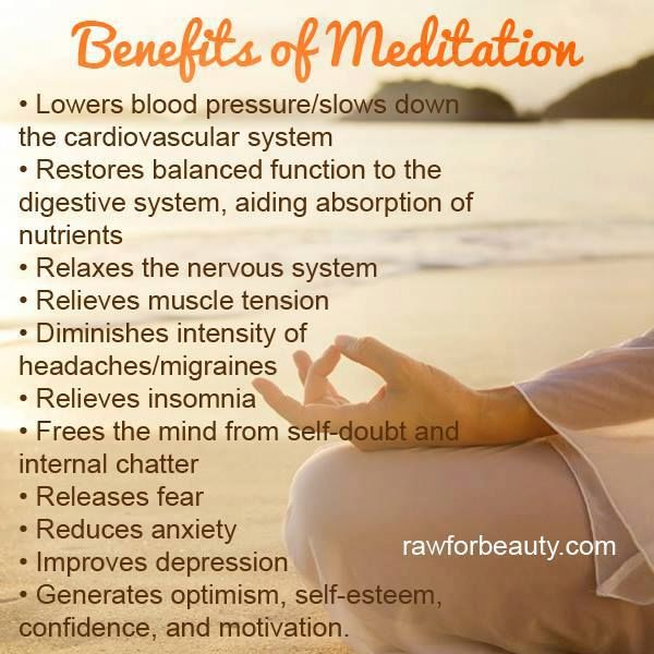 benefits of meditation There are numerous ways that meditation benefits your mind, body, and spirit ( and i'll list 6 of them below), but there's also one really surprising effect of.