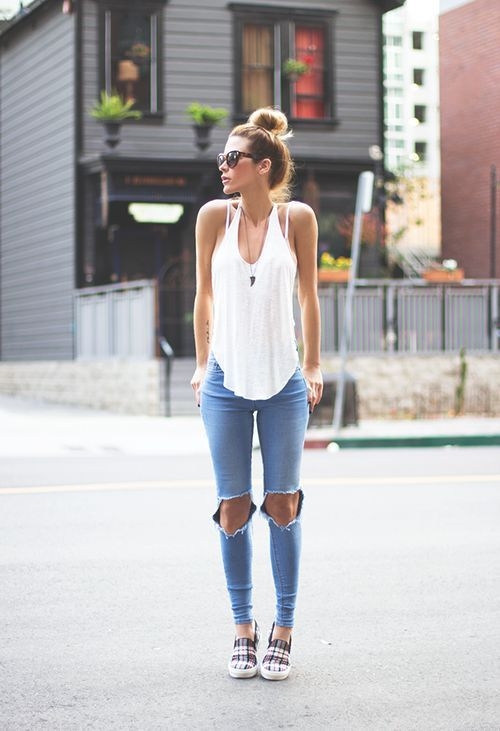 White Shirt And Knee Cute Jeans Pictures Photos and Images for