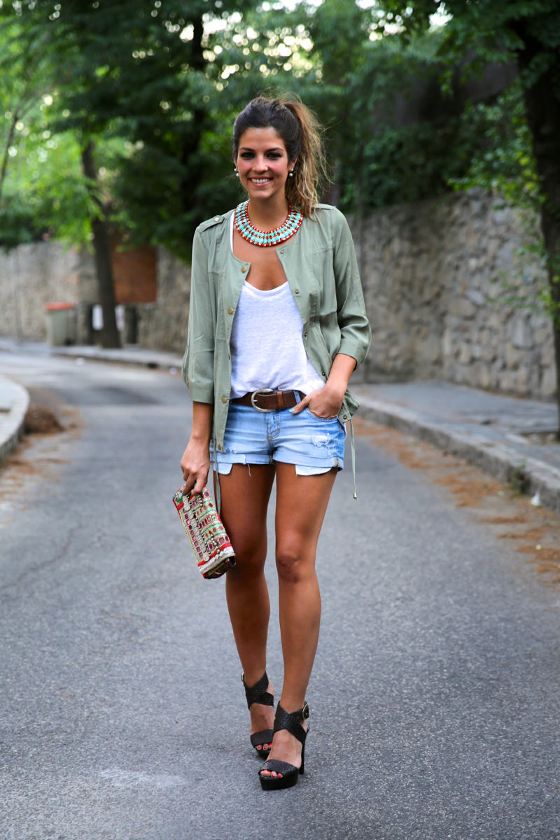 Jean Shorts With Sea Green Shirt And Heels Pictures, Photos, and ...