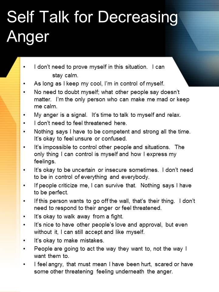 Anger management handouts for adults