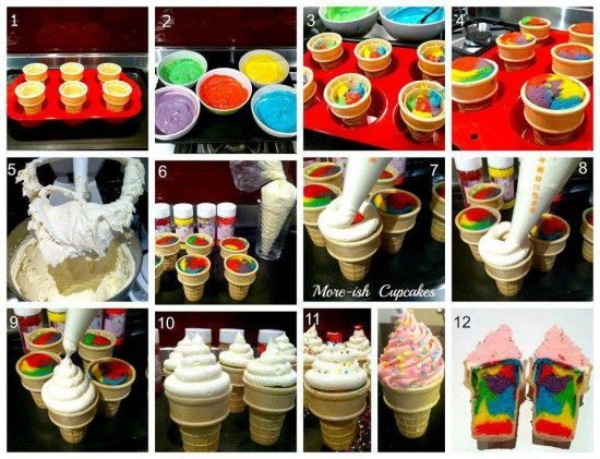 Rainbow Ice Cream Cone Cupcakes Recipe Pictures, Photos ...