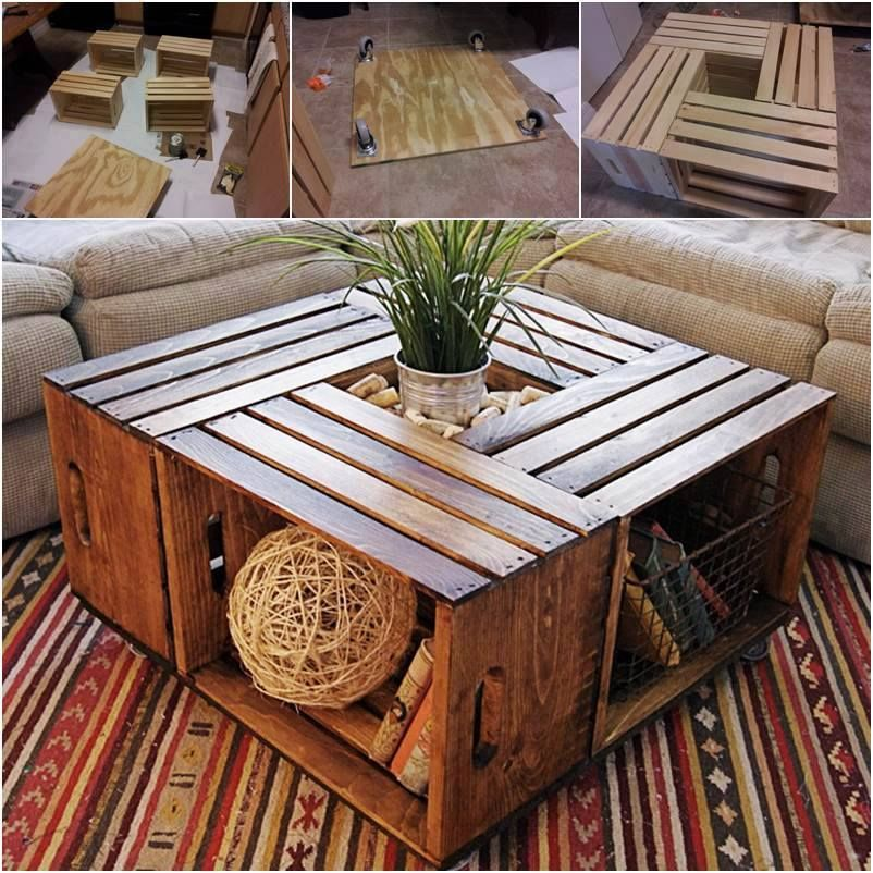 How To Make A Coffee Table Out Of Old Wine Crates Pictures