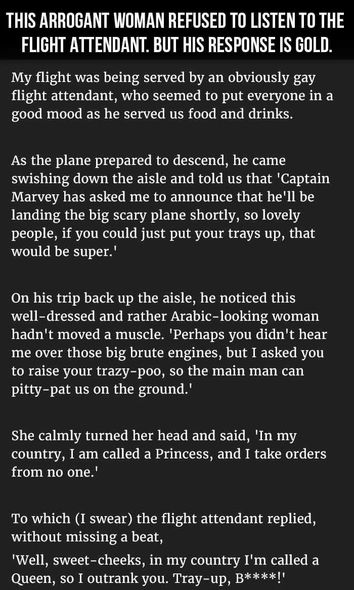 Arrogant Woman Refused To Listen Flight Attendant His Response Is Hilarious Monday Morning Liners