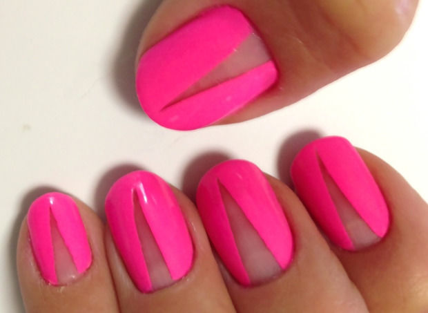 Pink Gel Nails With Negative Space Pictures, Photos, and Images for