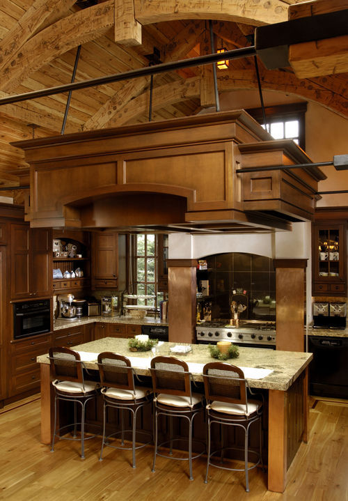 Cool wooden dining room design pictures photos and for Mountain home kitchens
