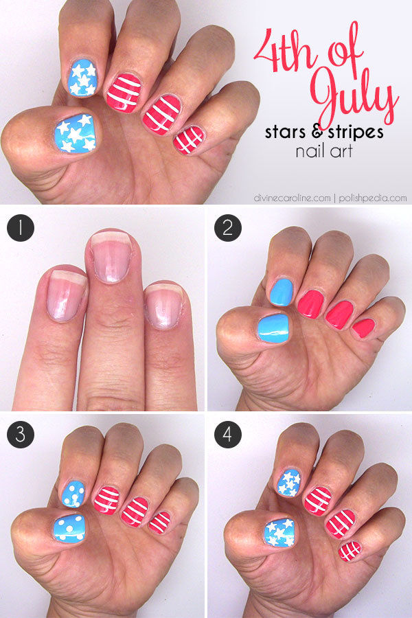 4th Of July Stripes And Stars Nail Art Tutorial Pictures Photos