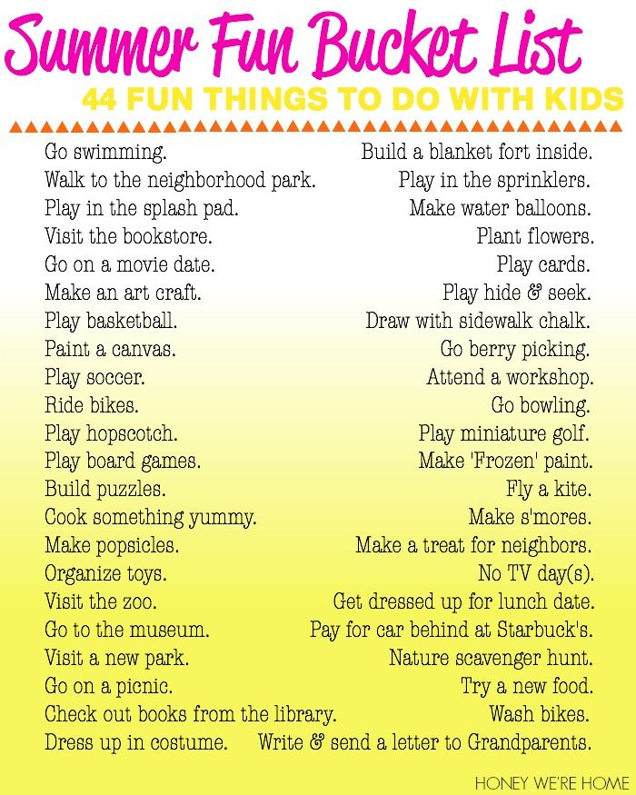 Summer Fun Bucket List: 44 Things To Do With Kids Pictures ...