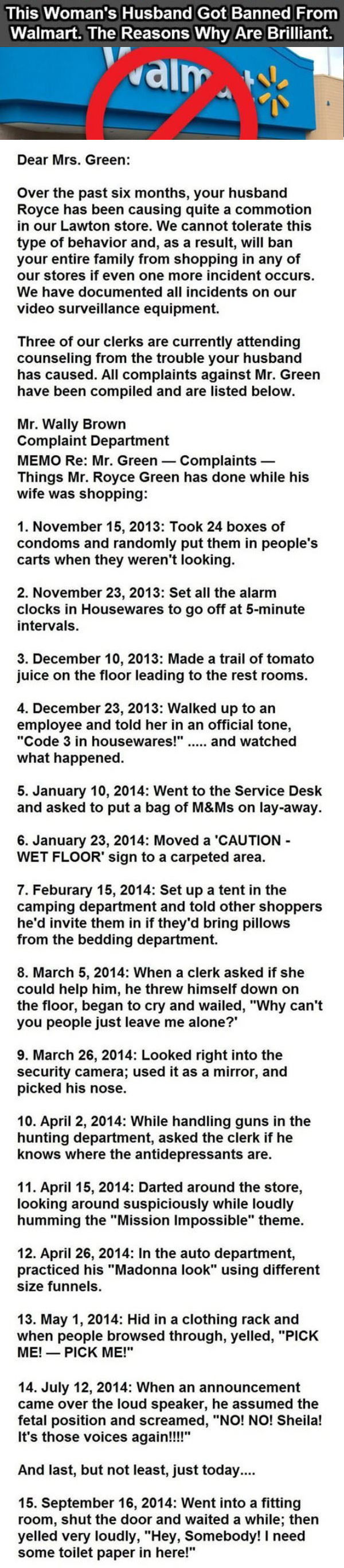 This Woman's Husband Got Banned From Walmart The Reasons Why Are Hilarious