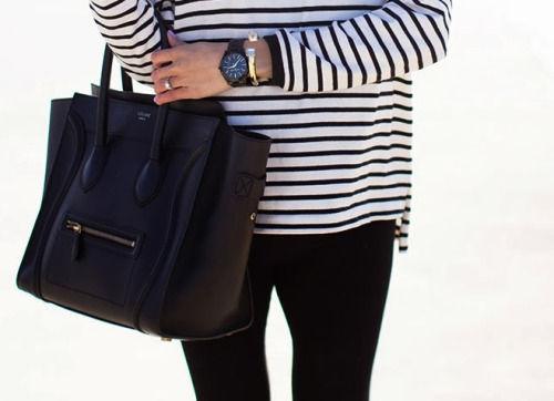 celine shoulder luggage tote - Striped Shirt With Black Pants, Watch And Black Celine Bag ...