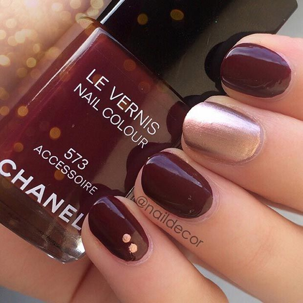simple red wine amp gold nail design pictures photos and