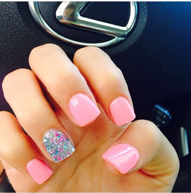 Baby Pink Sparkle Summer Nails