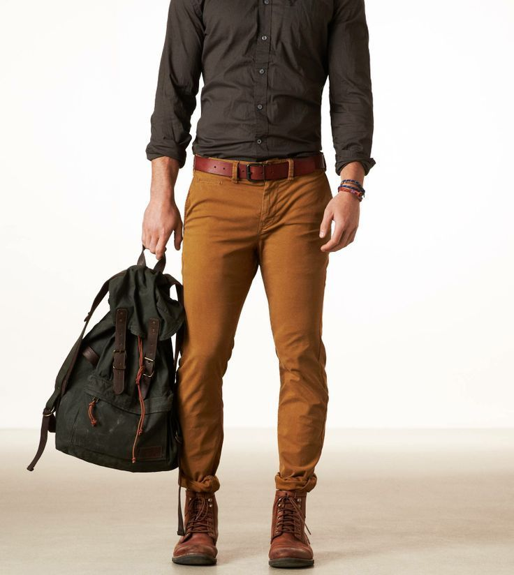 Steel Brown Shirt With Brown Belt And Dark Tan Pants ...