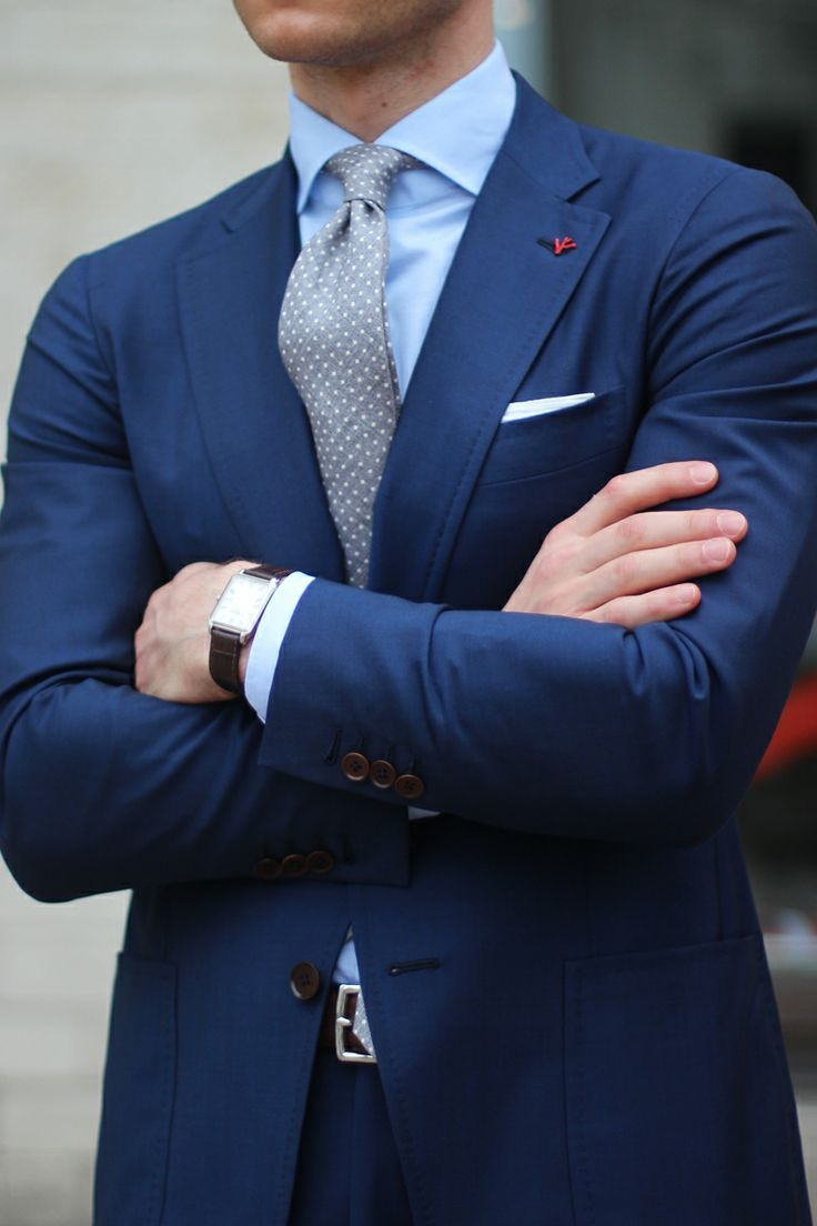 Navy Blue Suit With Grey Polkadot Tie Pictures, Photos, and Images