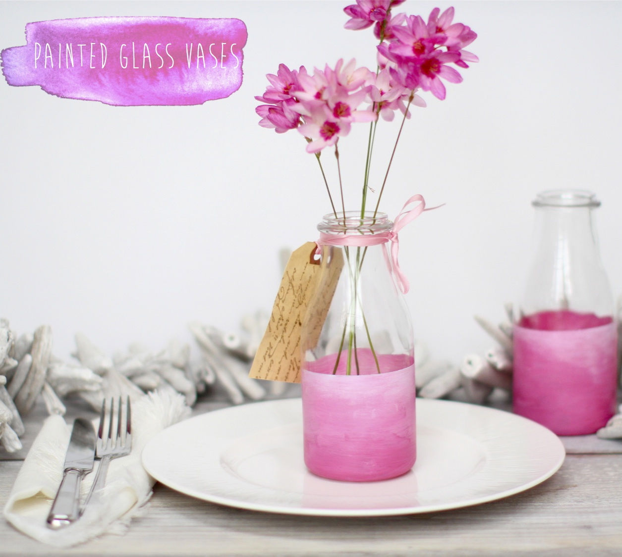 Ombre Pink Painted Bottle Vases Pictures Photos And