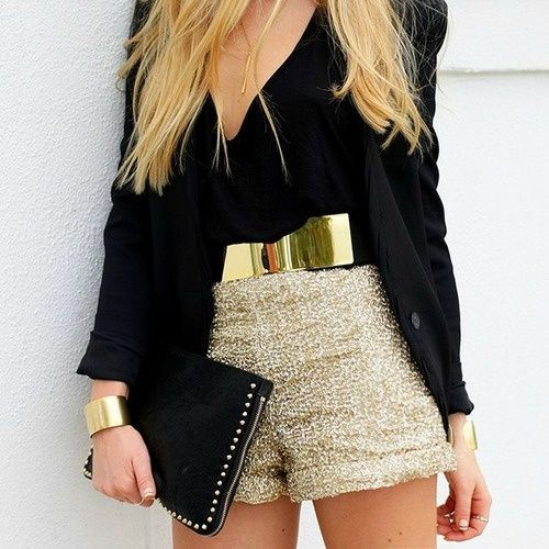 Gold Glitter Shorts With Black Top Pictures, Photos, and ... Black Shorts Tumblr