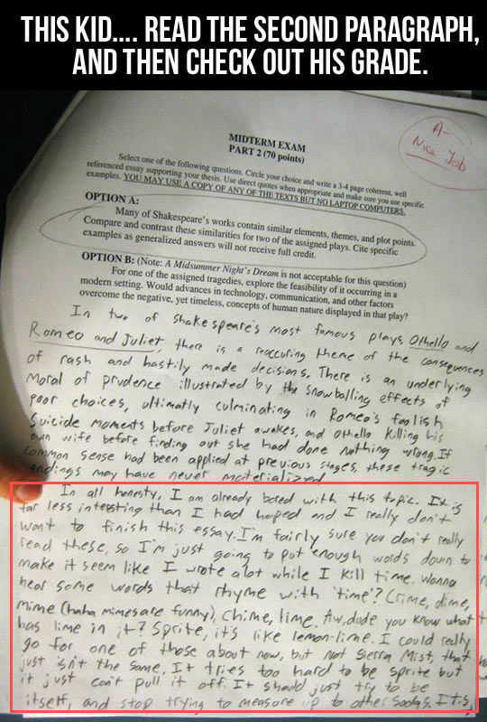 A Graded Paper With A Funny Response