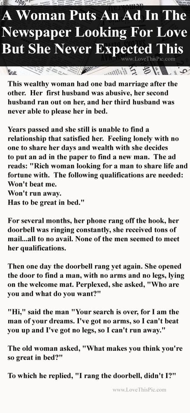 A Rich Woman Put An Ad In The Paper Looking For Love But Never Expected This