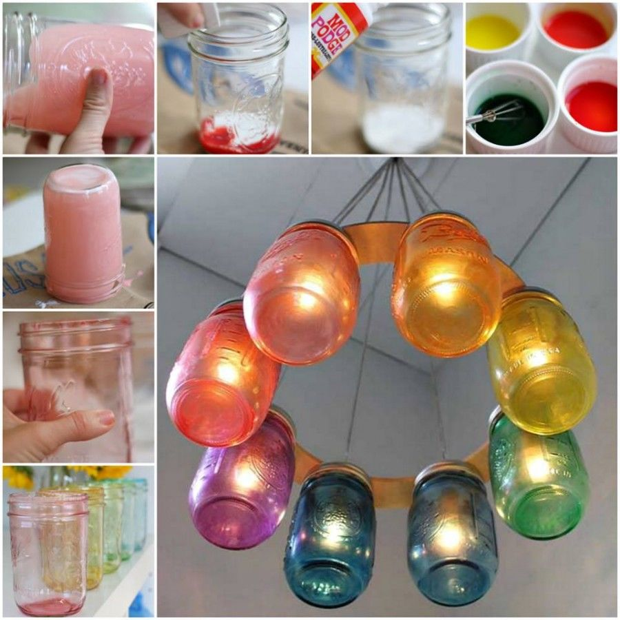 How to make a rainbow mason jar chandelier pictures photos and how to make a rainbow mason jar chandelier arubaitofo Image collections