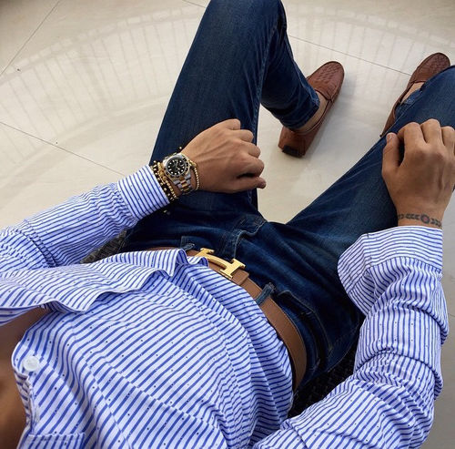Blue And White Striped Shirt With Navy Pants And Brown