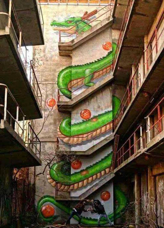 Attractive Awesome Dragon Ball Stair Art