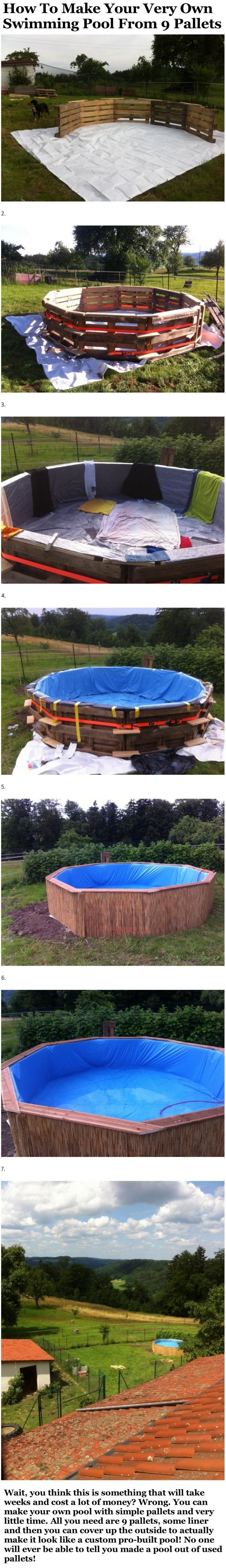 How to make your very own swimming pool from 9 pallets for Create your own pool
