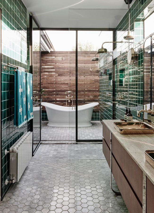 Modern tile bathroom pictures photos and images for for Indoor outdoor bathroom design ideas