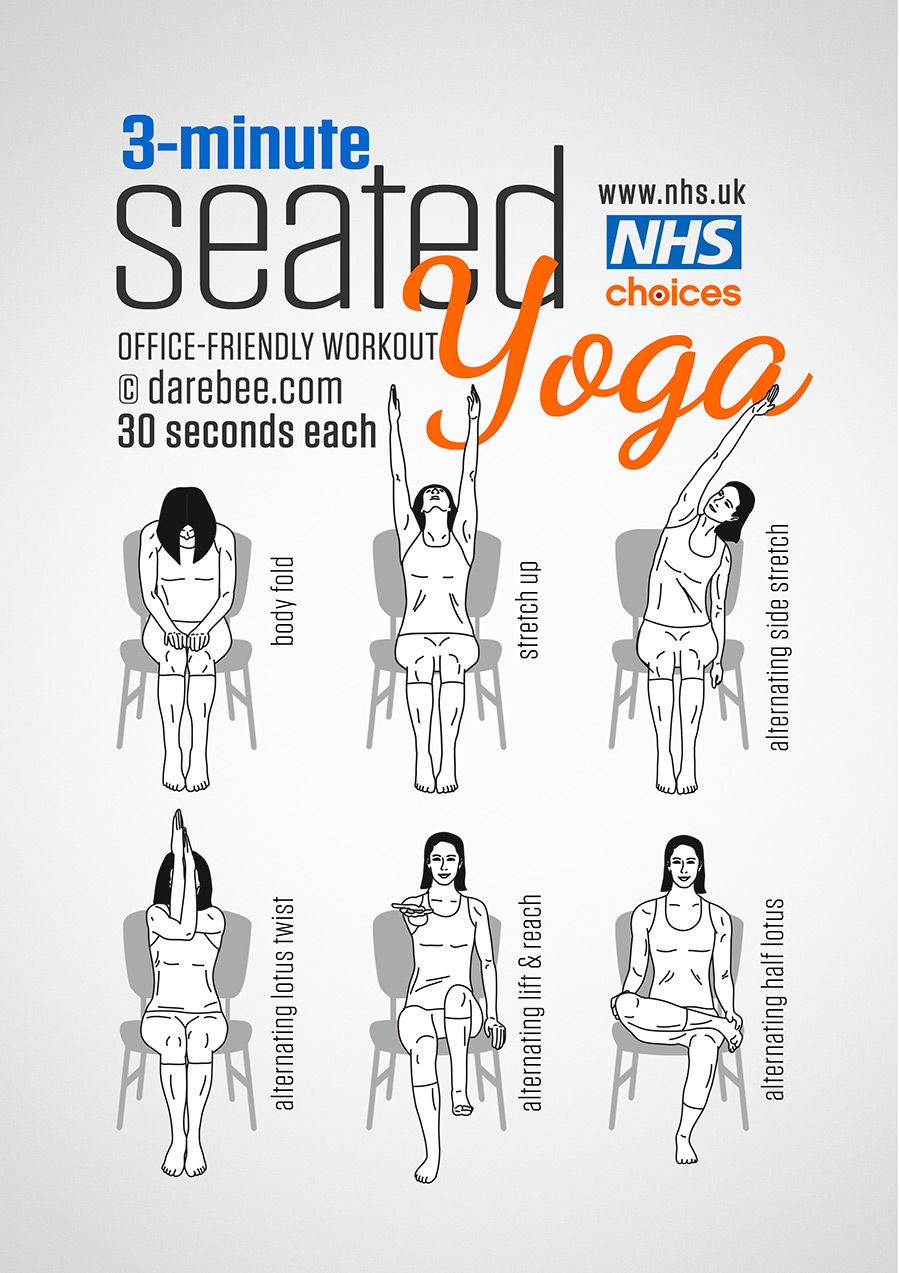 3 minutes office friendly seated yoga workout pictures
