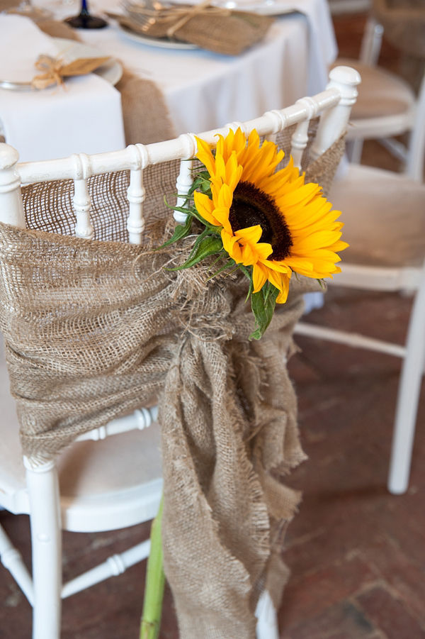 sunflower and burlap chair decor - Sunflower Decorations