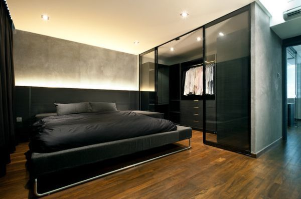 Dark Bedroom Design With Walk In Closet