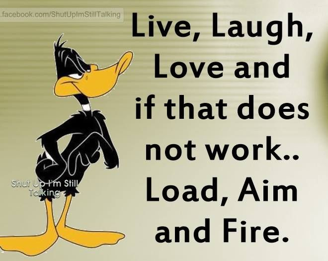 Quotes Sayings Humor: Live Laugh Love If That Doesn't Work Load Aim And Fire
