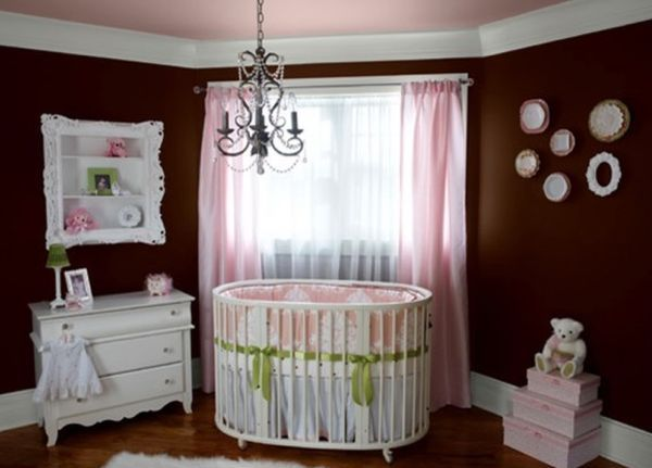 Baby Nursery With Dark Brown Wall And Pink Accent Also