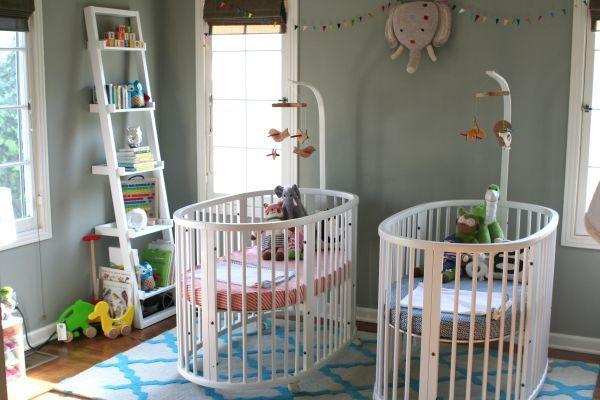 White Round Crib For Twins Baby