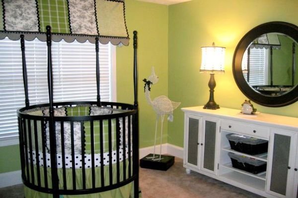 Boys Nursery Ideas With Round Crib And Green Wall Theme