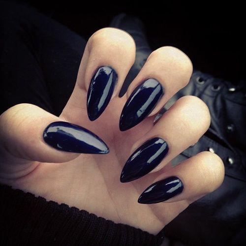 Black Gloss Stiletto Nails