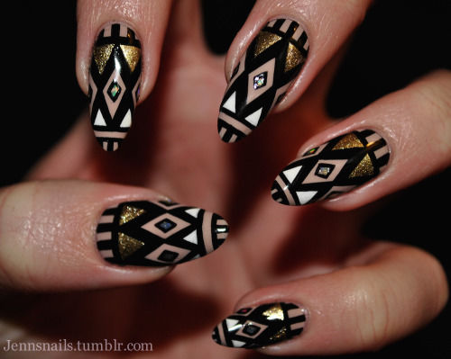 Tribal black and gold nails pictures photos and images for tribal black and gold nails prinsesfo Image collections