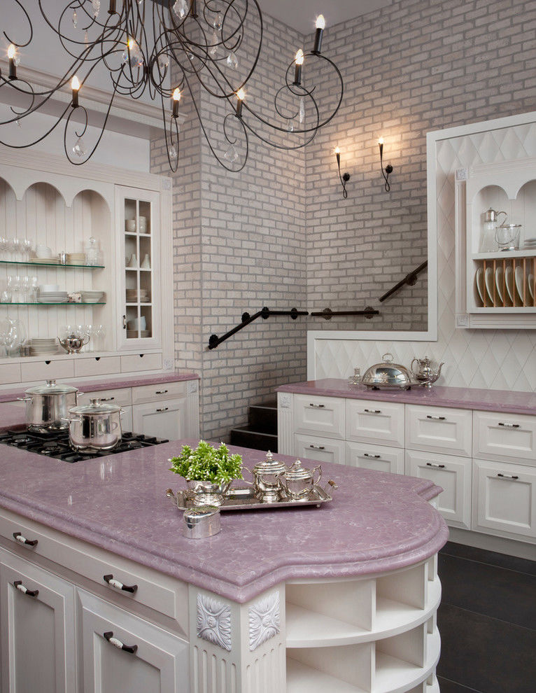 Cly Pink And White Kitchen