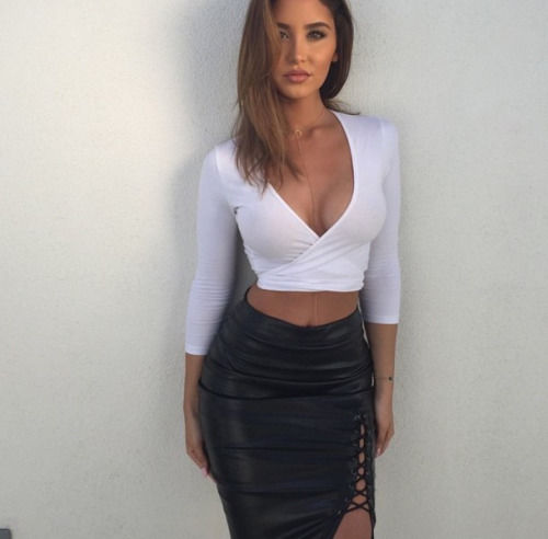 Black Leather Slit Skirt And White Top Pictures, Photos, and ...