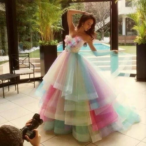 Pastel rainbow gown pictures photos and images for for Rainbow wedding dress say yes to the dress