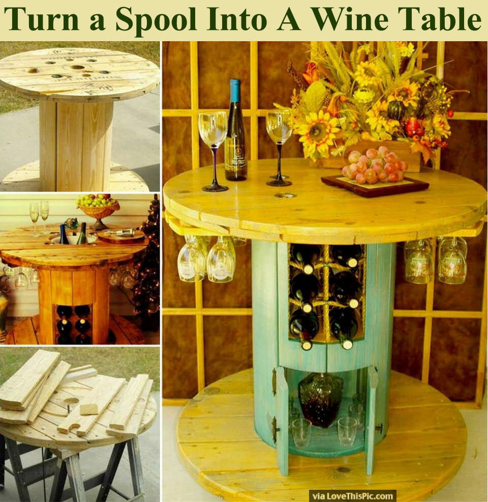 Turn a spool into a wine table pictures photos and for Table exterieur touret