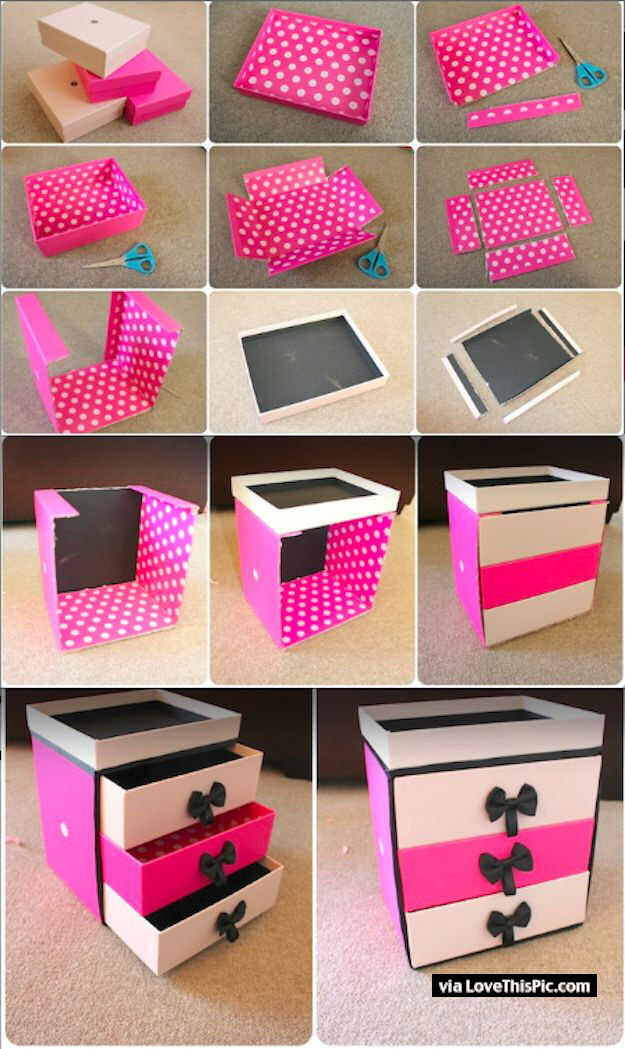 Diy box organizer pictures photos and images for for Cool things to make with paper for your room